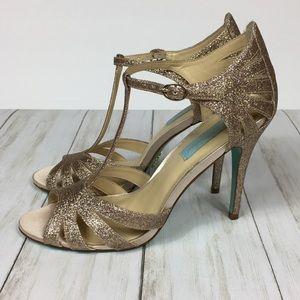 Betsey Johnson Shoes - Betsey Johnson Glittery T-Strap Heels Size 8.5